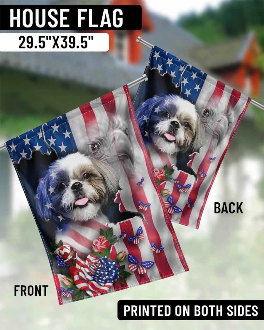 Shih Tzu American flag Proud Flags2