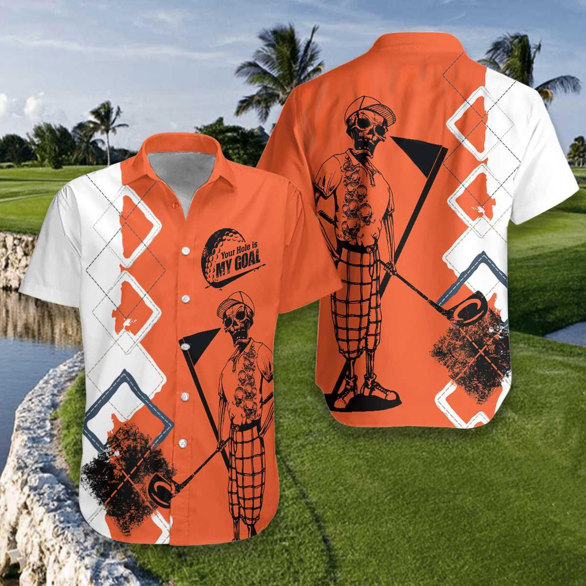 Skeleton Golf Your Hole Is My Goal Hawaiian Shirt2