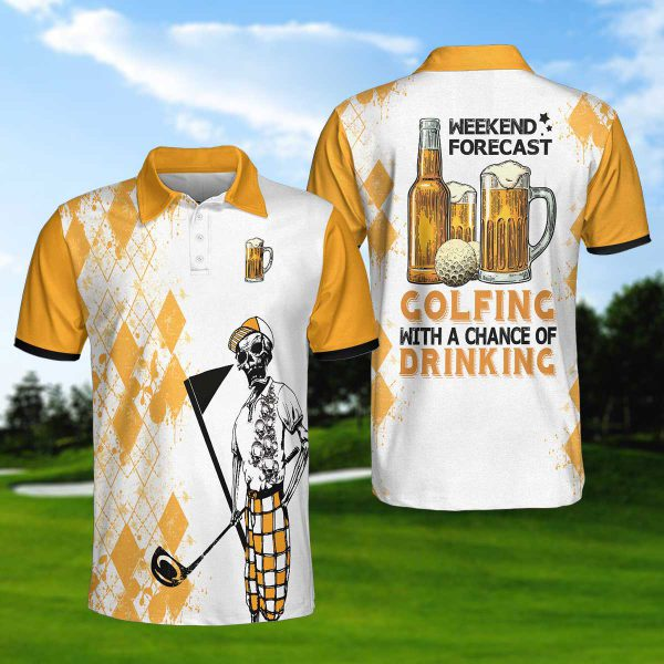 Skeleton Weekend Forecast Beer Colfincs With A Chance Of Drinking Polo Shirt 600x600 1