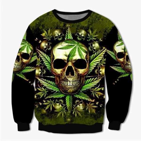 Skull King Weedy In Green We Trust 3d hoodie shirt2