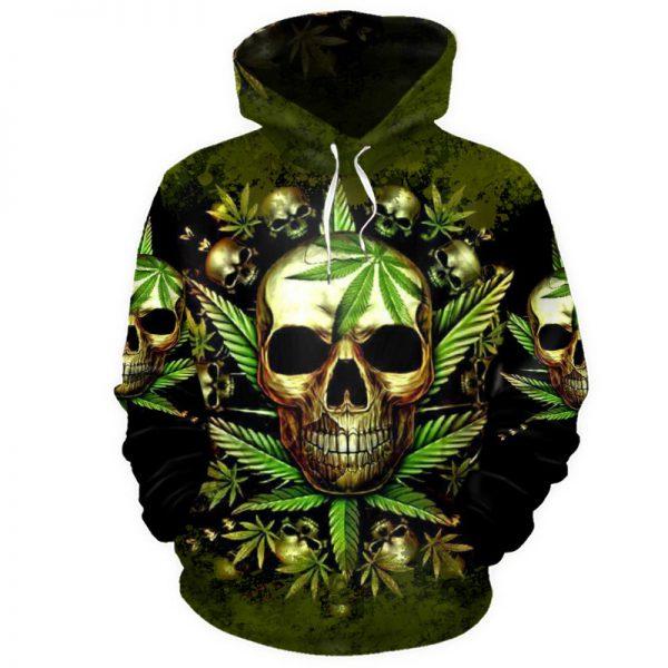 Skull King Weedy In Green We Trust 3d hoodie shirt4