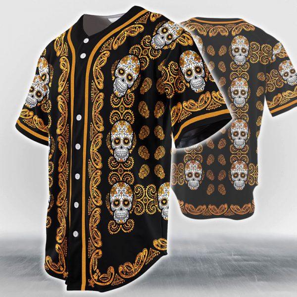 Sugar Skull Pattern Jersey Baseball Shirt