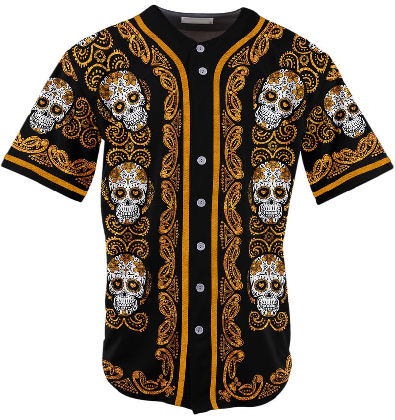 Sugar Skull Pattern Jersey Baseball Shirt1