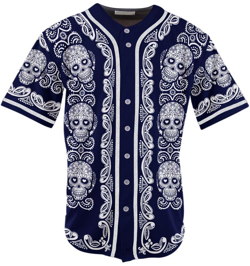 Sugar Skull Pattern Jersey Baseball Shirt3