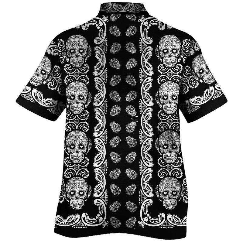 Sugar Skull Pattern all over print Hawaii Shirt1 1