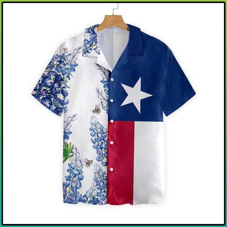 Texas Flag Bluebonnets Hawaiian Shirt 1