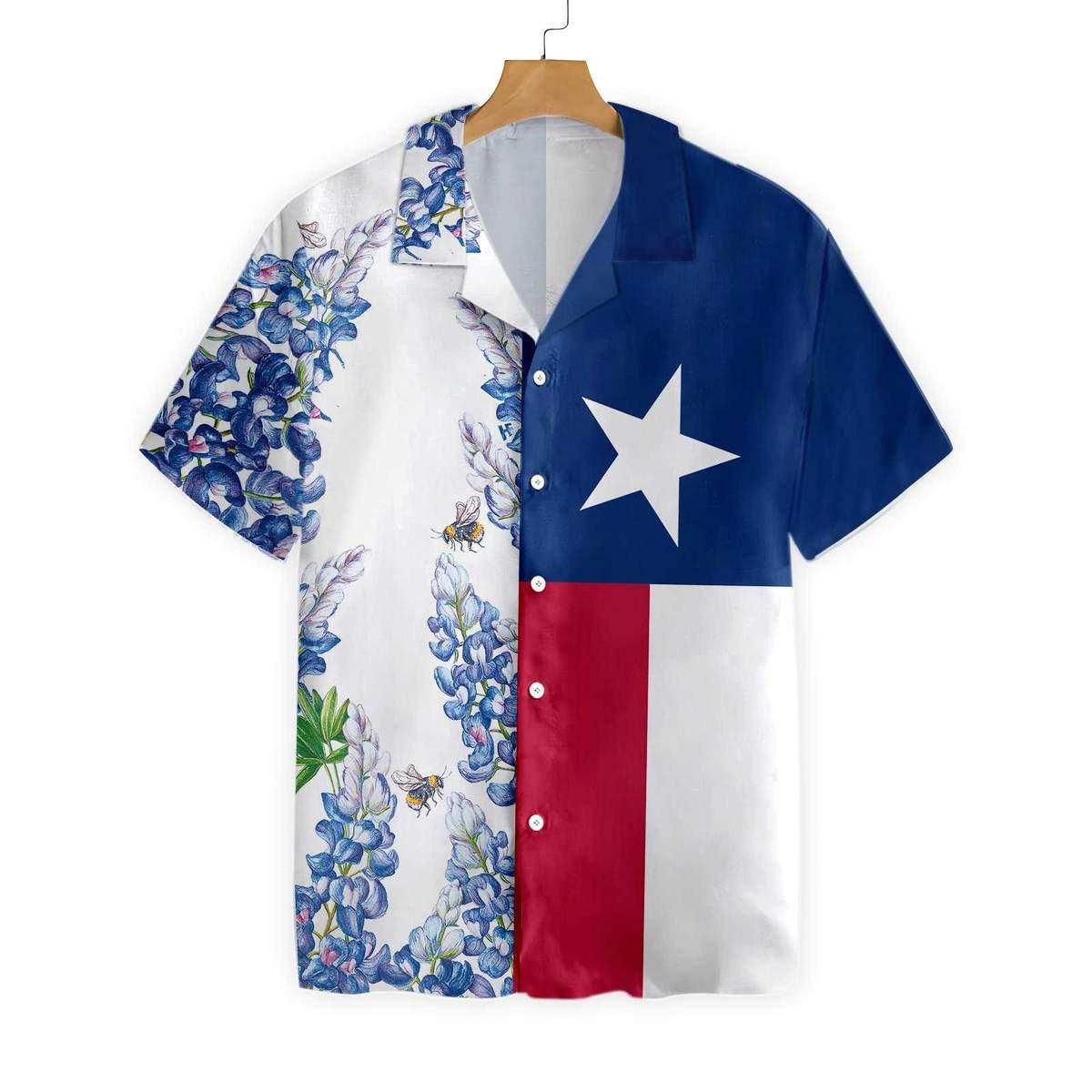Texas Flag Bluebonnets Hawaiian Shirt
