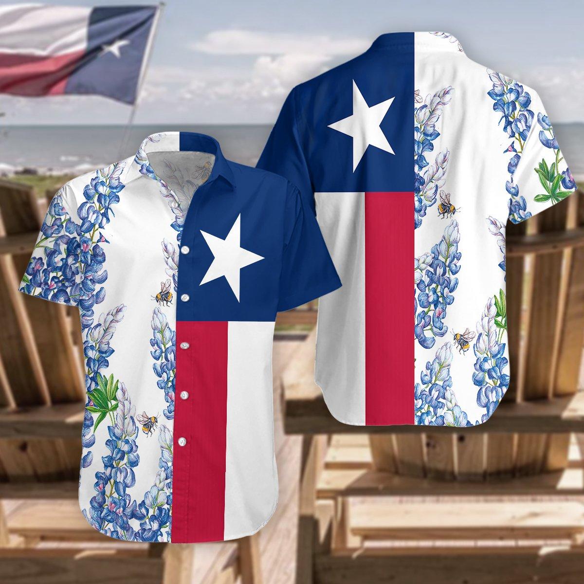 Texas Flag Bluebonnets Hawaiian Shirt2