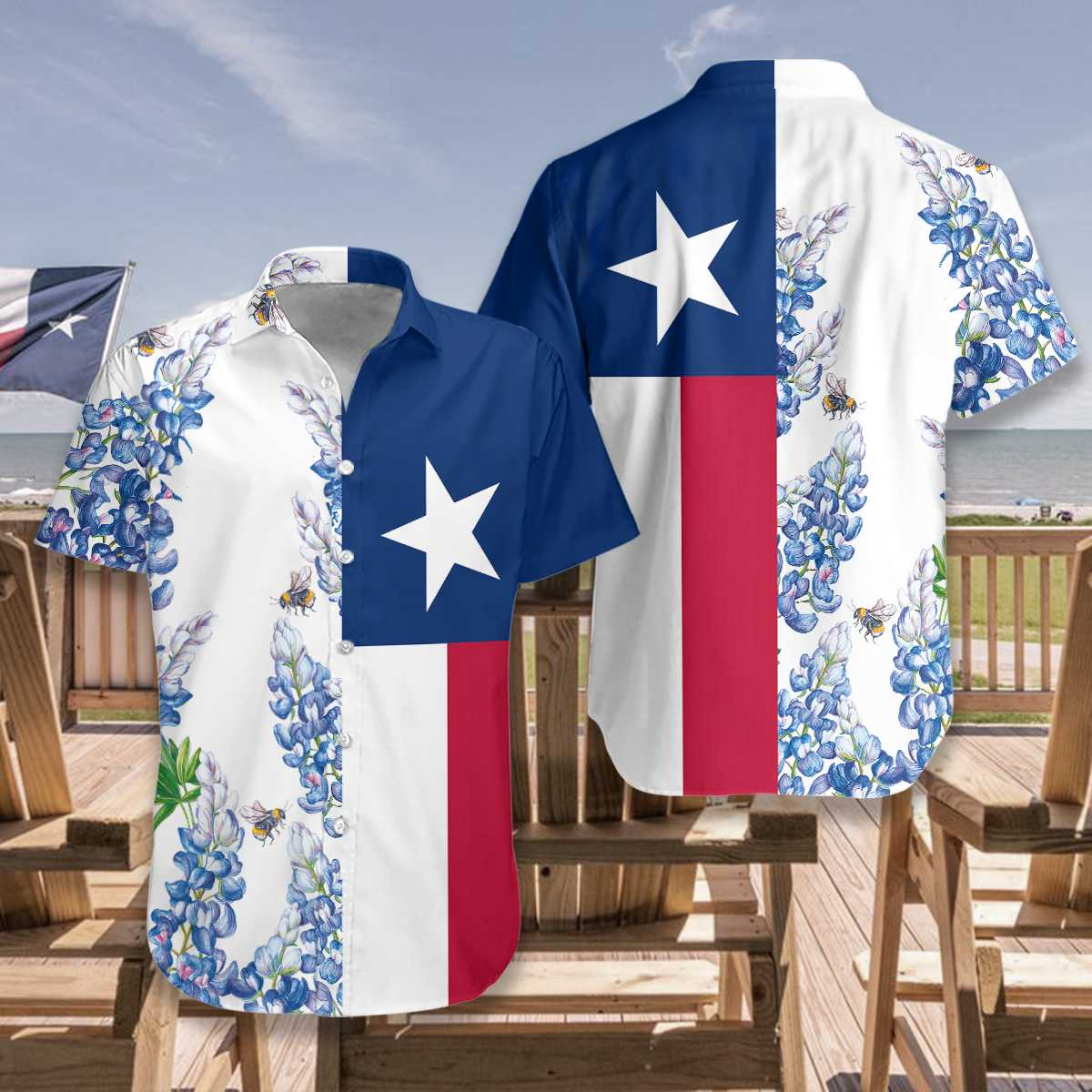 Texas Flag Bluebonnets Ver3 Hawaiian Shirt2