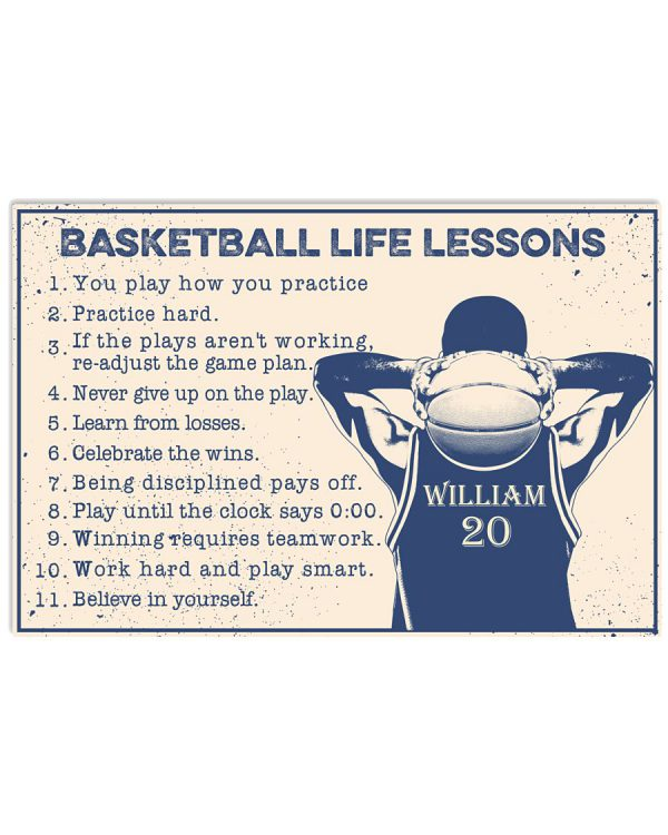 William 20 Basketball Life Lessons Custom Name Horizontal Poster 600x750 1