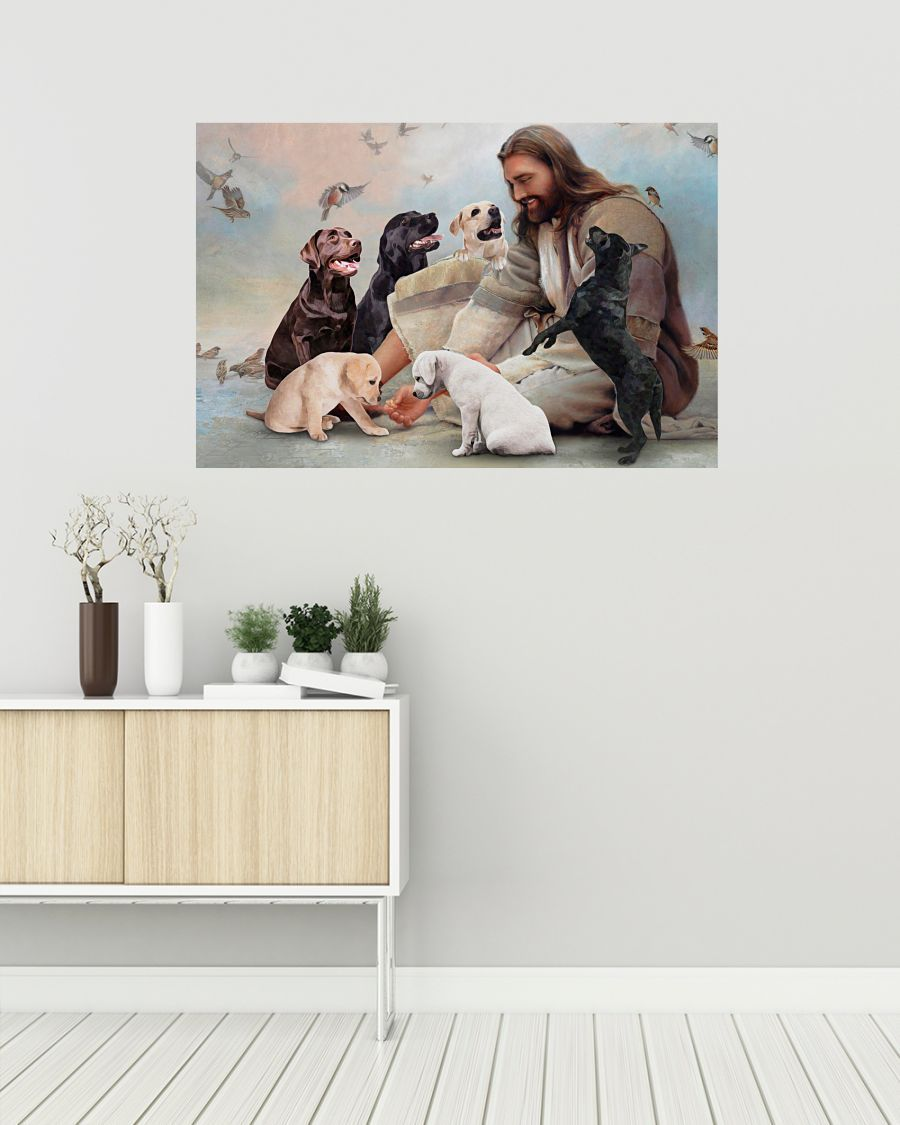 17 God surrounded by Labrador angels Poster 2