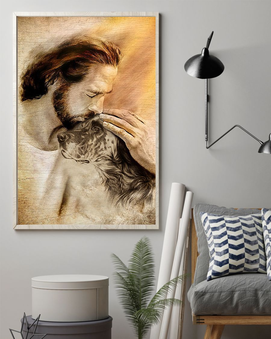 19 Jesus with lovely English setter for dog lover Vertical Poster 2
