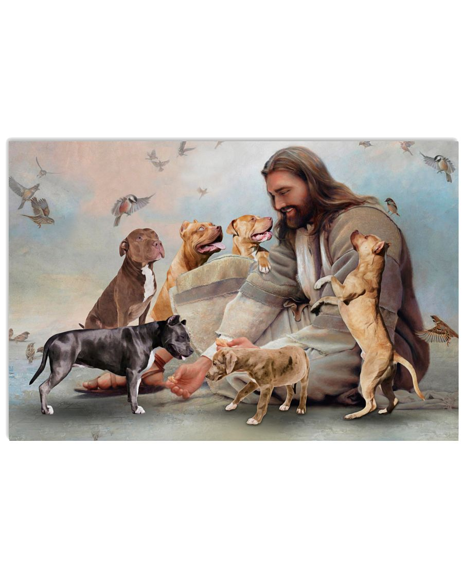 2 God surrounded by Pitbull angels Gift for you Horizontal Poster 1