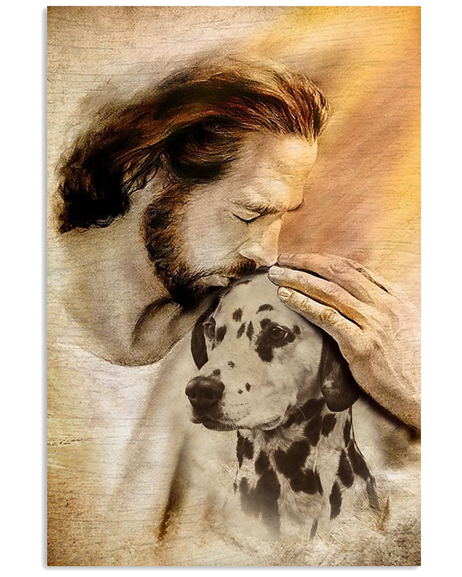 20 Jesus with lovely Dalmatian for Dalmatian lover Vertical Poster 1