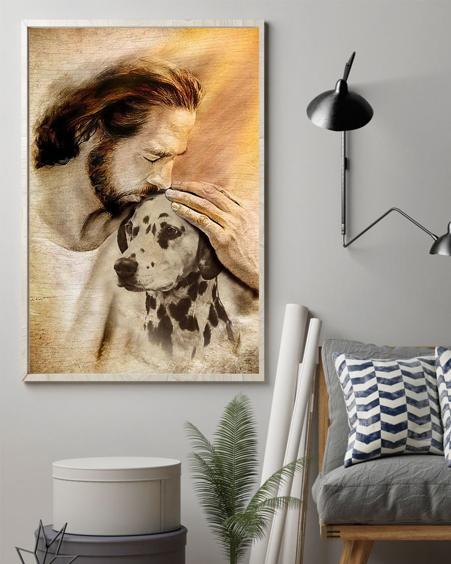 20 Jesus with lovely Dalmatian for Dalmatian lover Vertical Poster 2