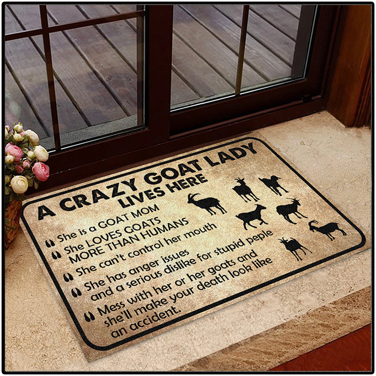 Acrazy Goat Lady Lives Here Doormat3