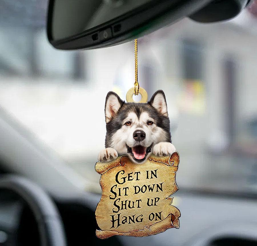 Alaskan Malamute get in sit down shut up hang on ornament