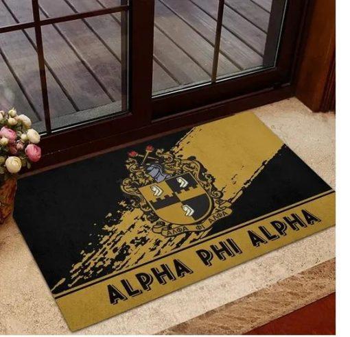 Alpha Phi Alpha 1906 Emblem Old Gold and Black Doormat