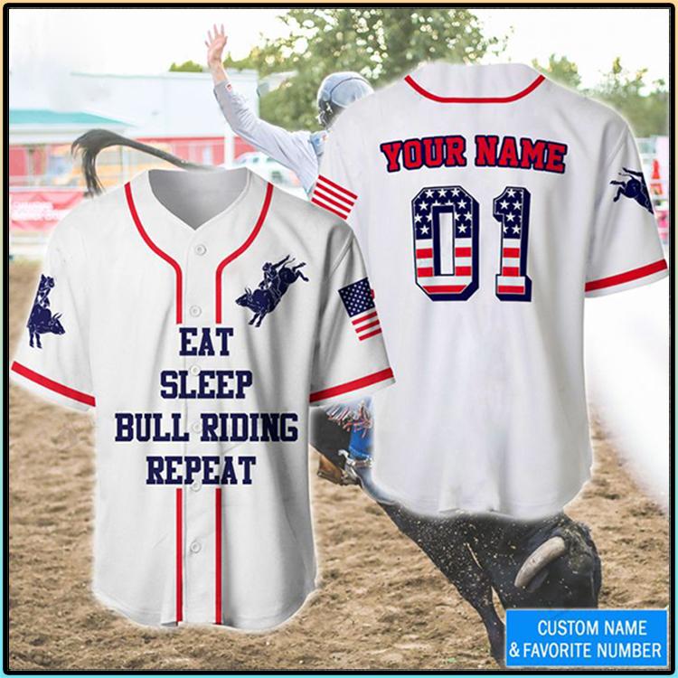 America Flag Eat Sleep Bull Riding Repeat Custom Name Baseball Shirt3 1