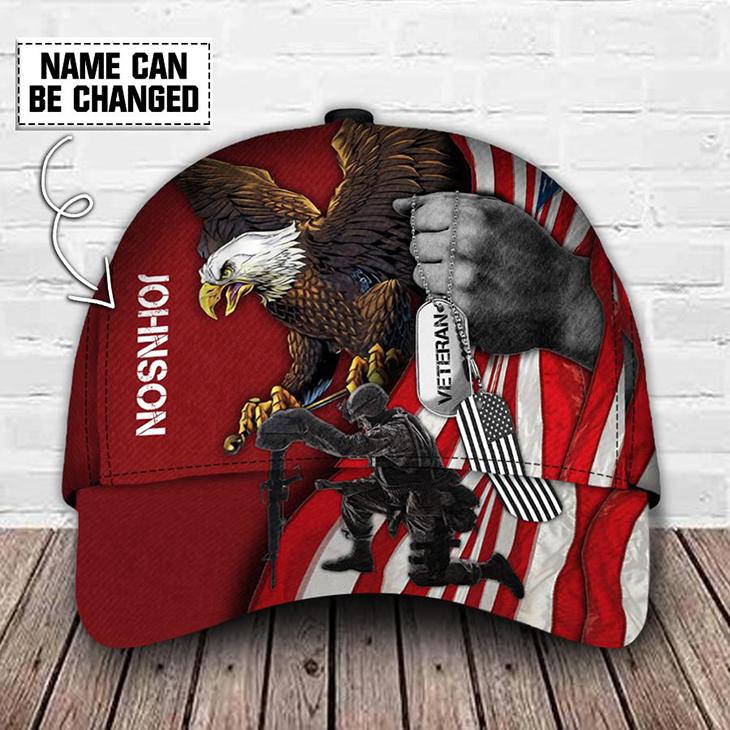 American Flag Eagle Veteran Custom Name Cap 1