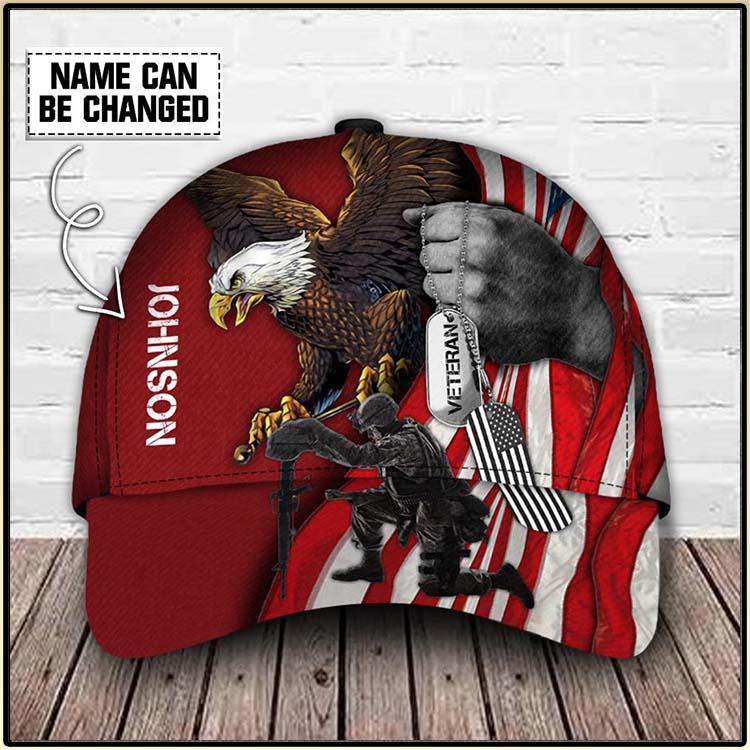 American Flag Eagle Veteran Custom Name Cap2