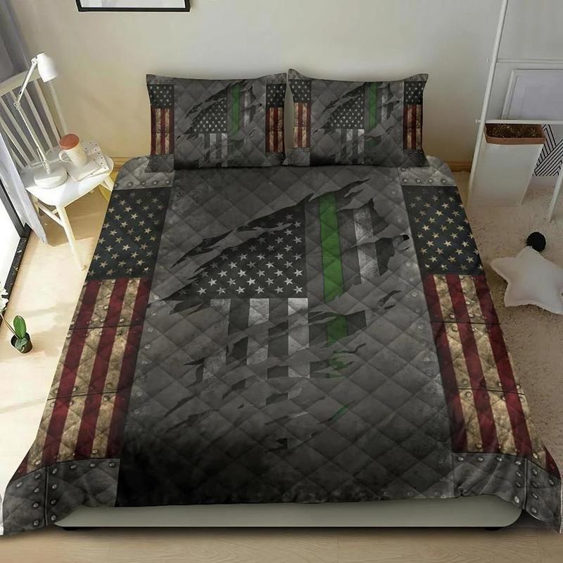 American Flag Veteran Thin Green Line Bedding Set Bedding Set1