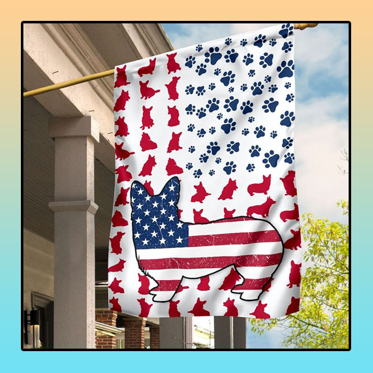 American flag corgi house and garden flag1