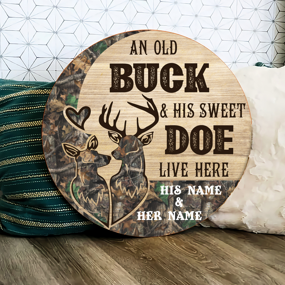 An Old Buck And His Sweet Doe Live Here custom name his name and her name Wooden Sign 1