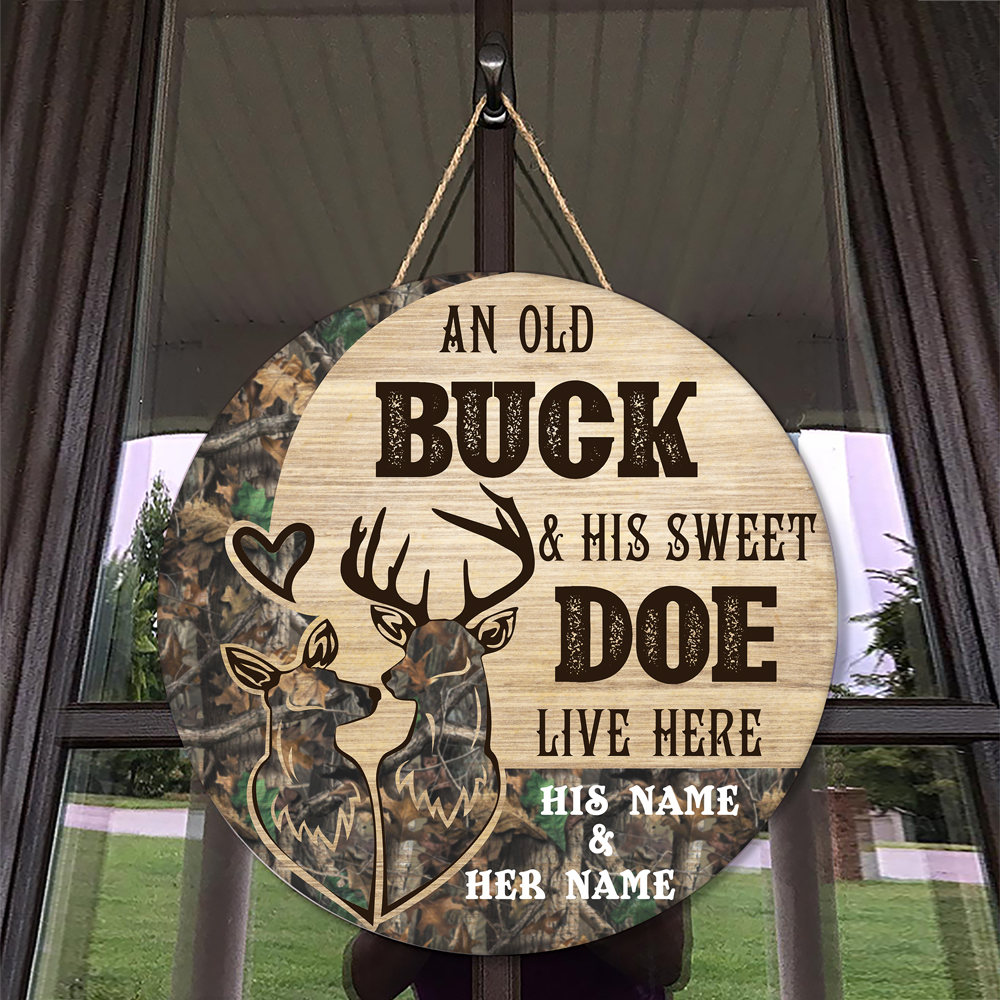 An Old Buck And His Sweet Doe Live Here custom name his name and her name Wooden Sign 2