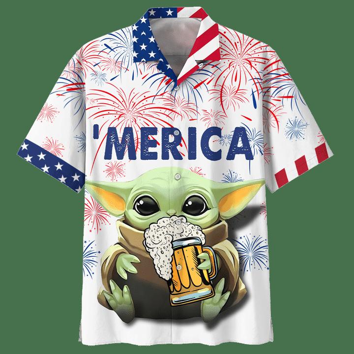Baby Yoda With Beer Merica Hawaiian Shirt