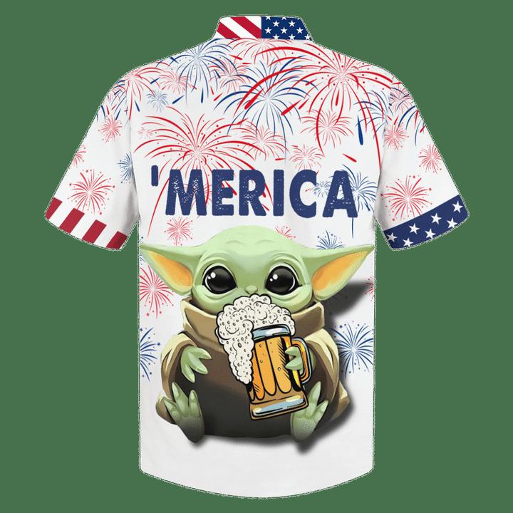 Baby Yoda With Beer Merica Hawaiian Shirt1