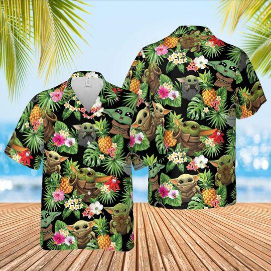 Baby Yoda hawaiian shirt and short