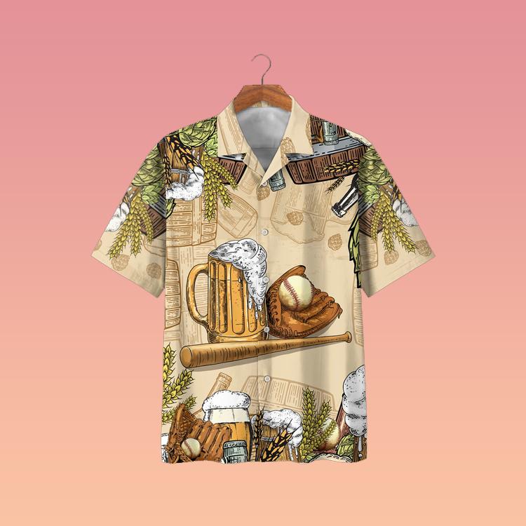Baseball and beer hawaiian shirt