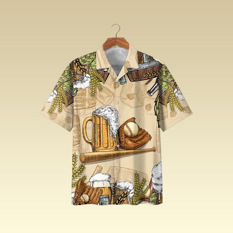 Baseball and beer hawaiian shirt2