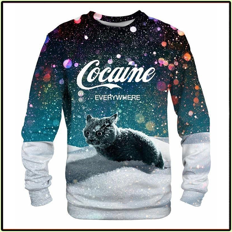 Black Cat Cocaine Everywhere Long Sleeve Shirt1
