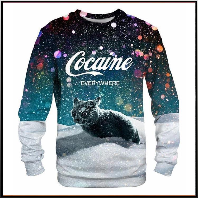 Black Cat Cocaine Everywhere Long Sleeve Shirt2