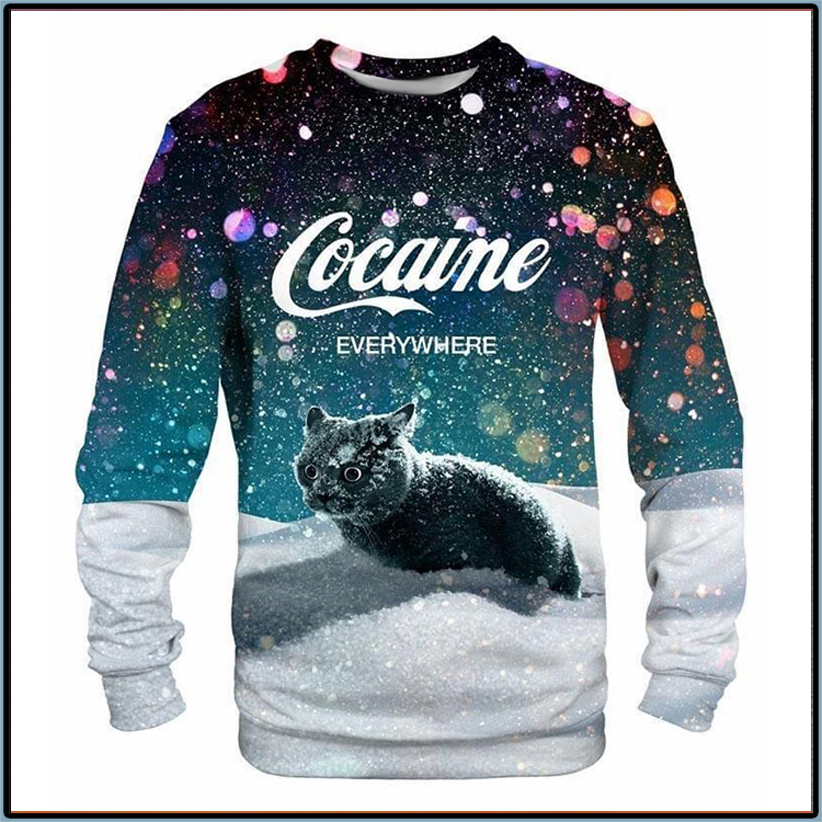 Black Cat Cocaine Everywhere Long Sleeve Shirt3