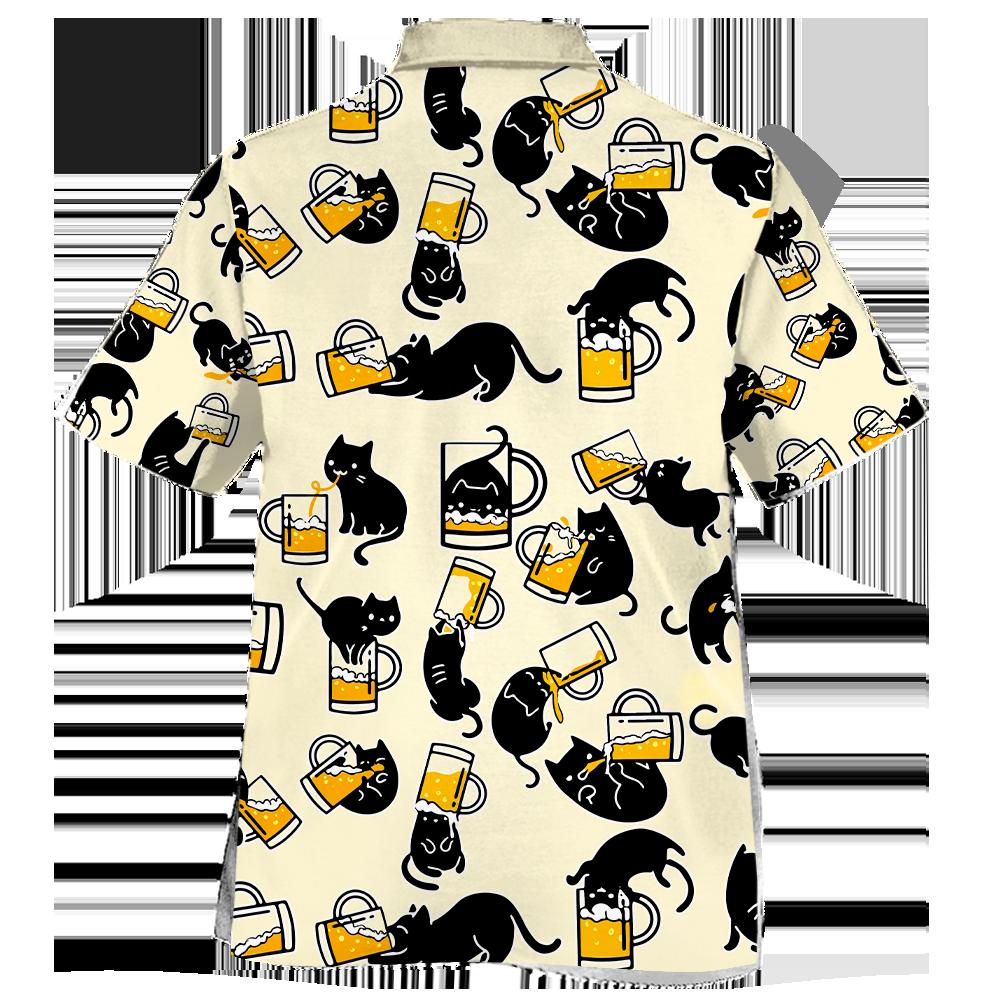 Black Cat Drink Beer In Many Ways Hawaiian Shirt1