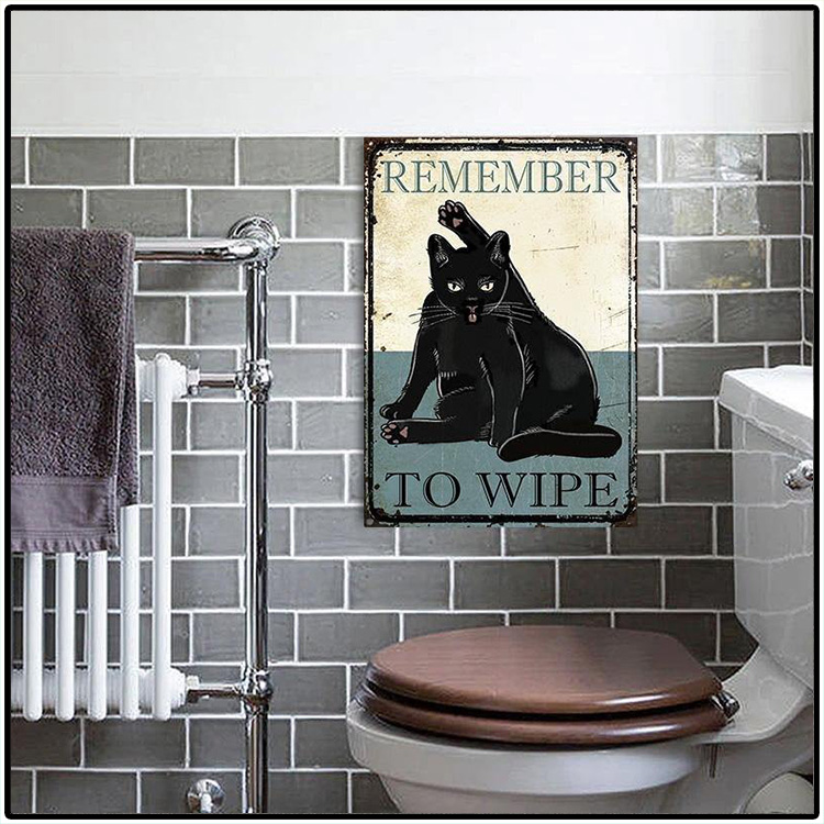 Black Cat Remember To Wipe Metal Sign 2