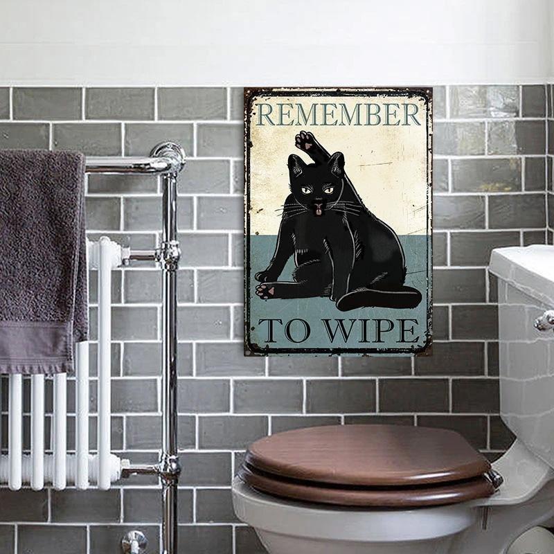 Black Cat Remember To Wipe Metal Sign