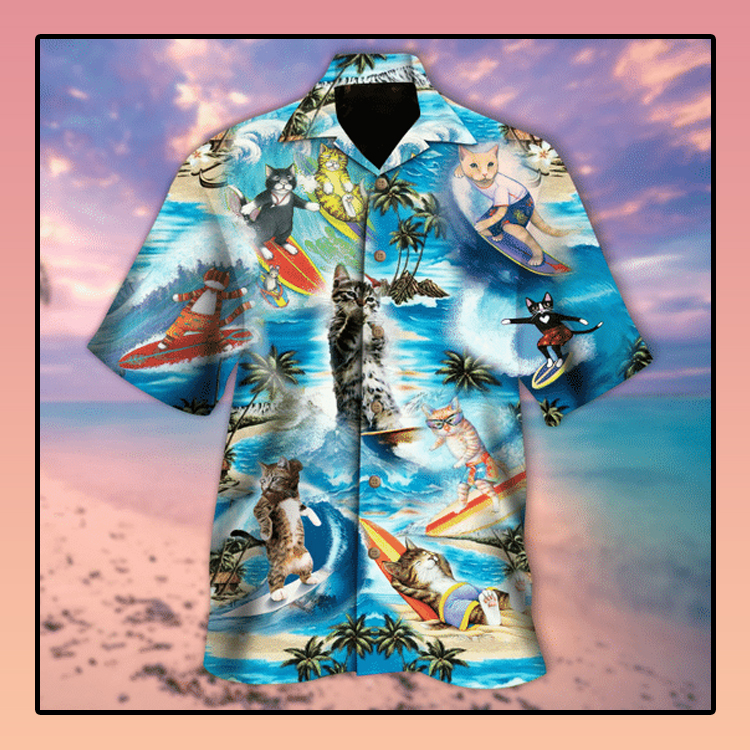 Cat Surfing meow hawaiian shirt3
