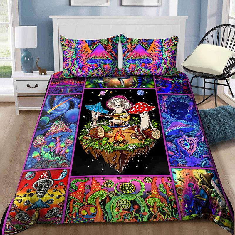 Colorful Mushroom Hippie Bedding Set3