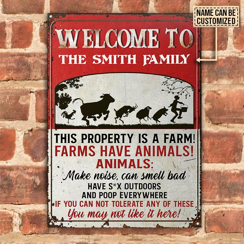Cow Welcome To The Smith Family This Property Is A Farm Metal Signs1