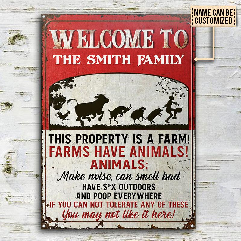 Cow Welcome To The Smith Family This Property Is A Farm Metal Signs2
