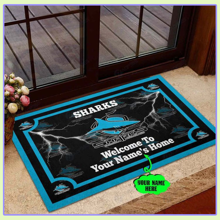 Cronulla Sutherland Sharks Personalized welcome to home Doormat1