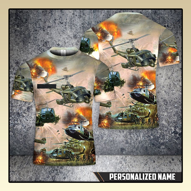 Custom Name United States Army Huey Helicopter T Shirt 3D 3