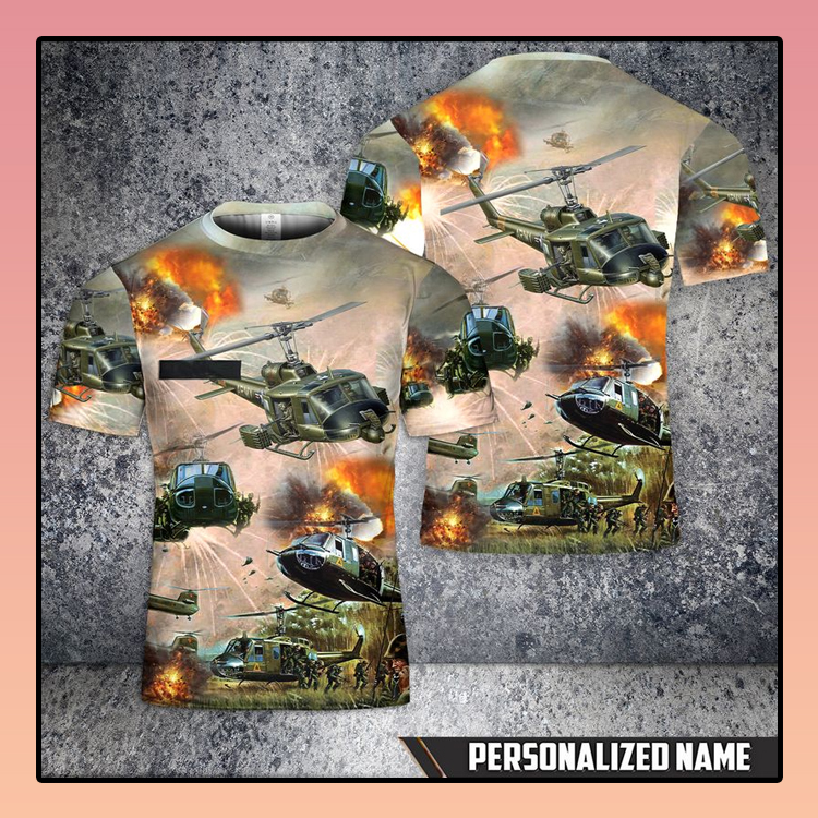 Custom Name United States Army Huey Helicopter T Shirt 3D2
