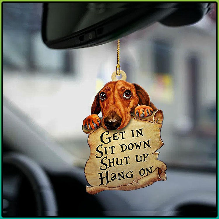 Dachshund get in sit down shut up hang on ornament1