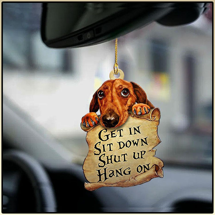 Dachshund get in sit down shut up hang on ornament3