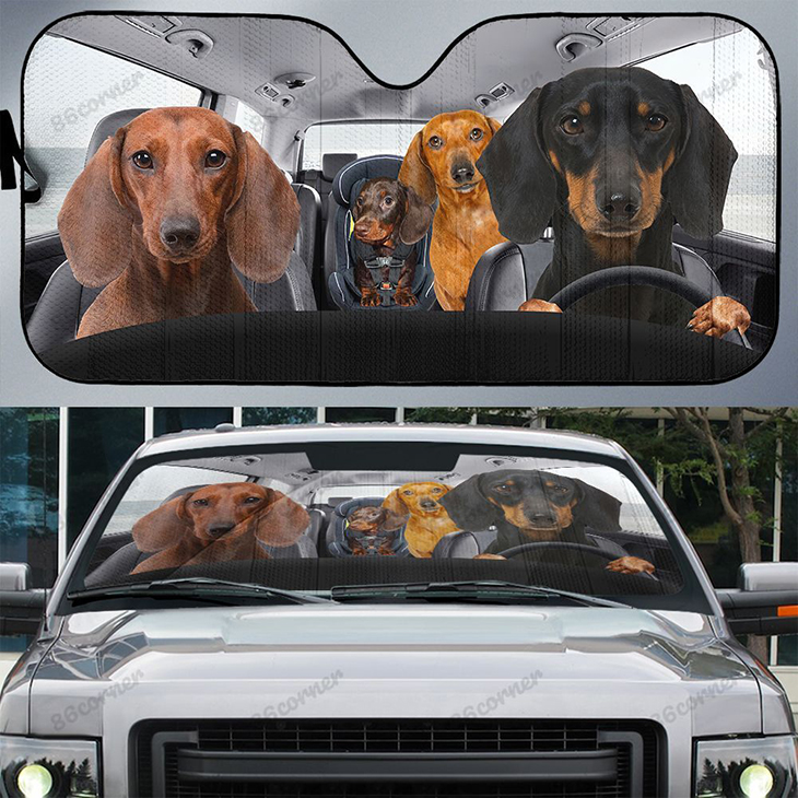 Dachshunds Family Driving Car Sunshade 1
